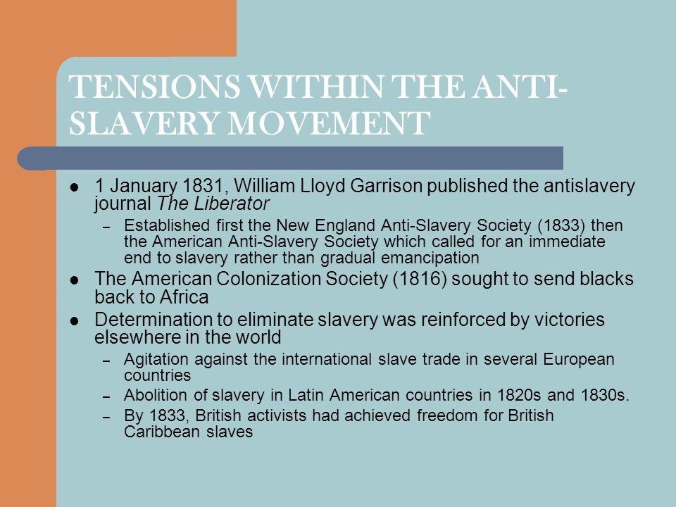 TENSIONS WITHIN THE ANTI-SLAVERY MOVEMENT