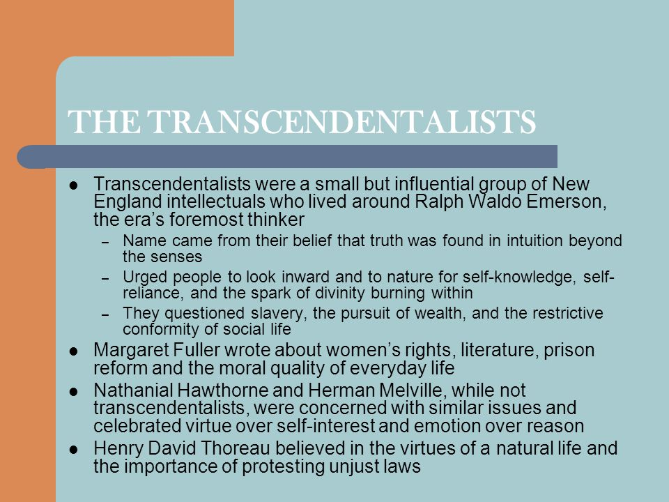 THE TRANSCENDENTALISTS