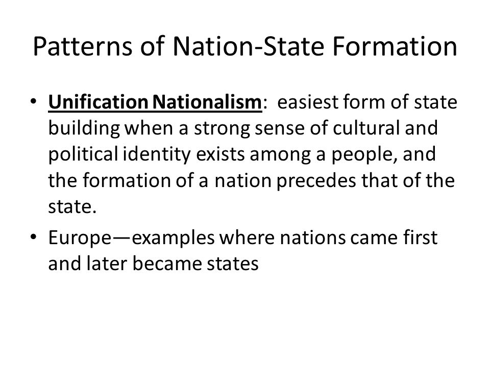 Patterns of Nation-State Formation