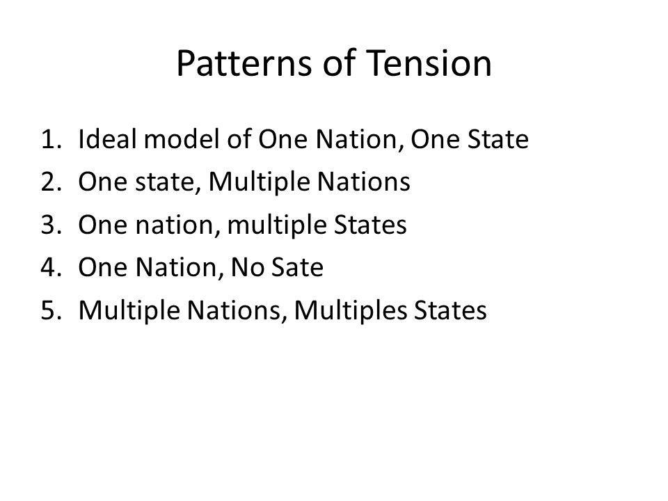 Patterns of Tension Ideal model of One Nation, One State