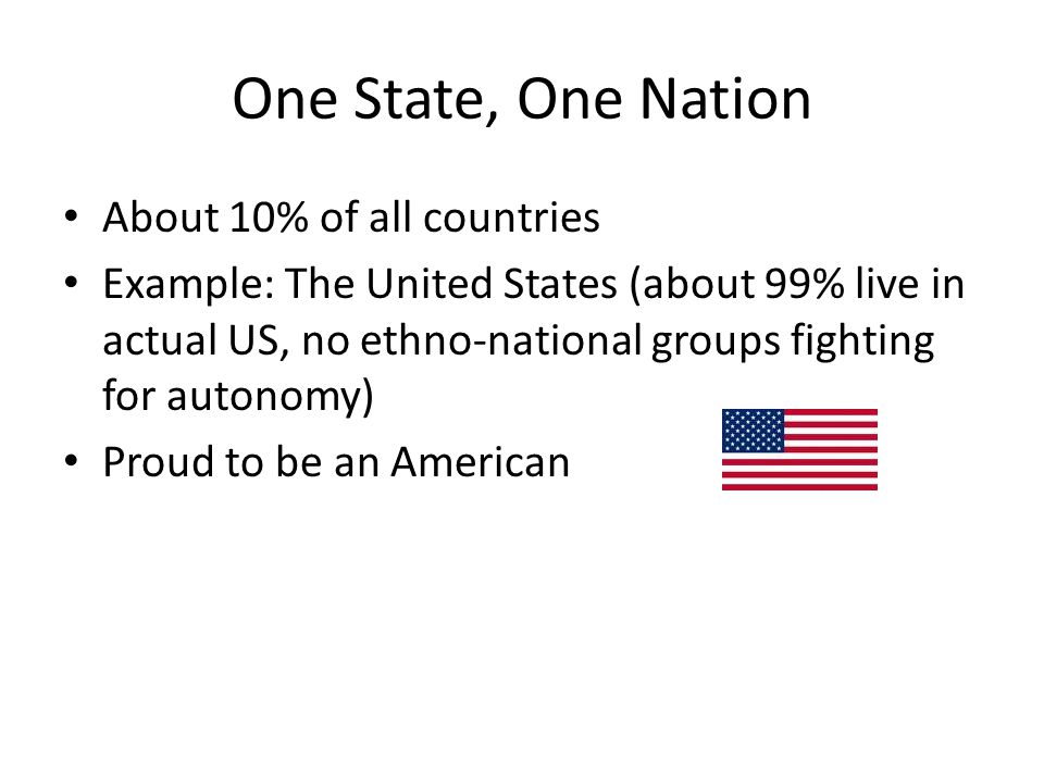 One State, One Nation About 10% of all countries