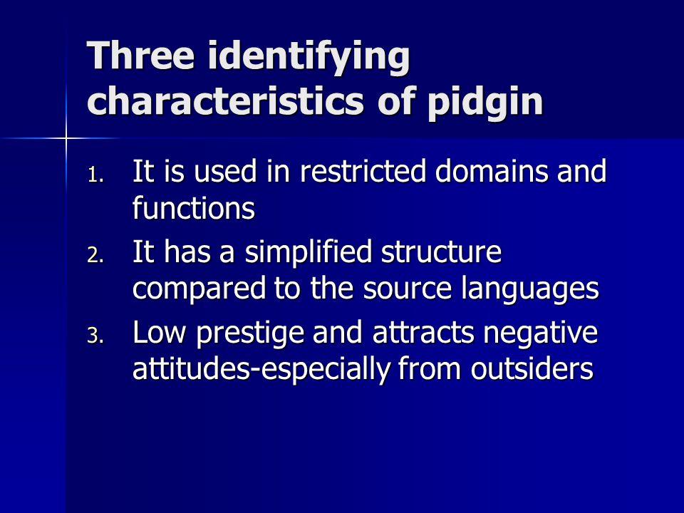 Three identifying characteristics of pidgin