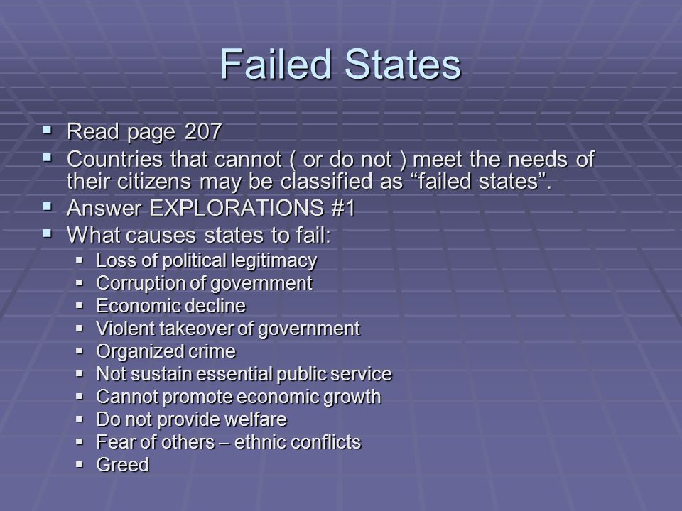 Failed States Read page 207