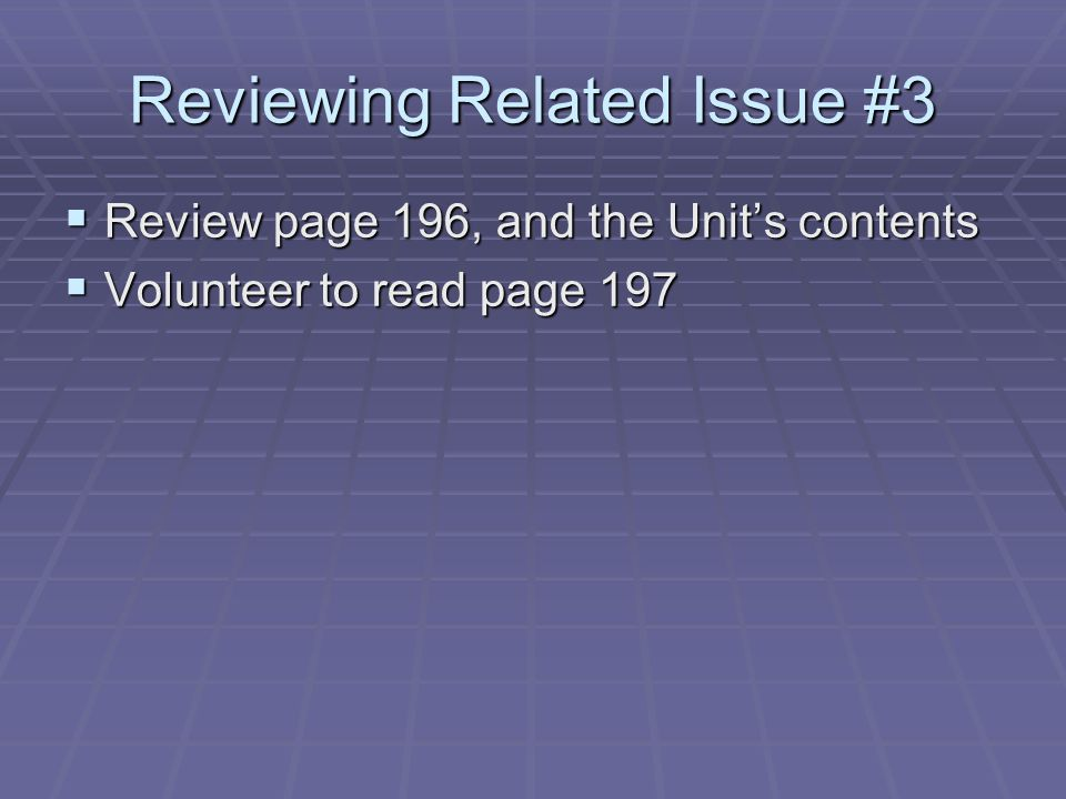 Reviewing Related Issue #3