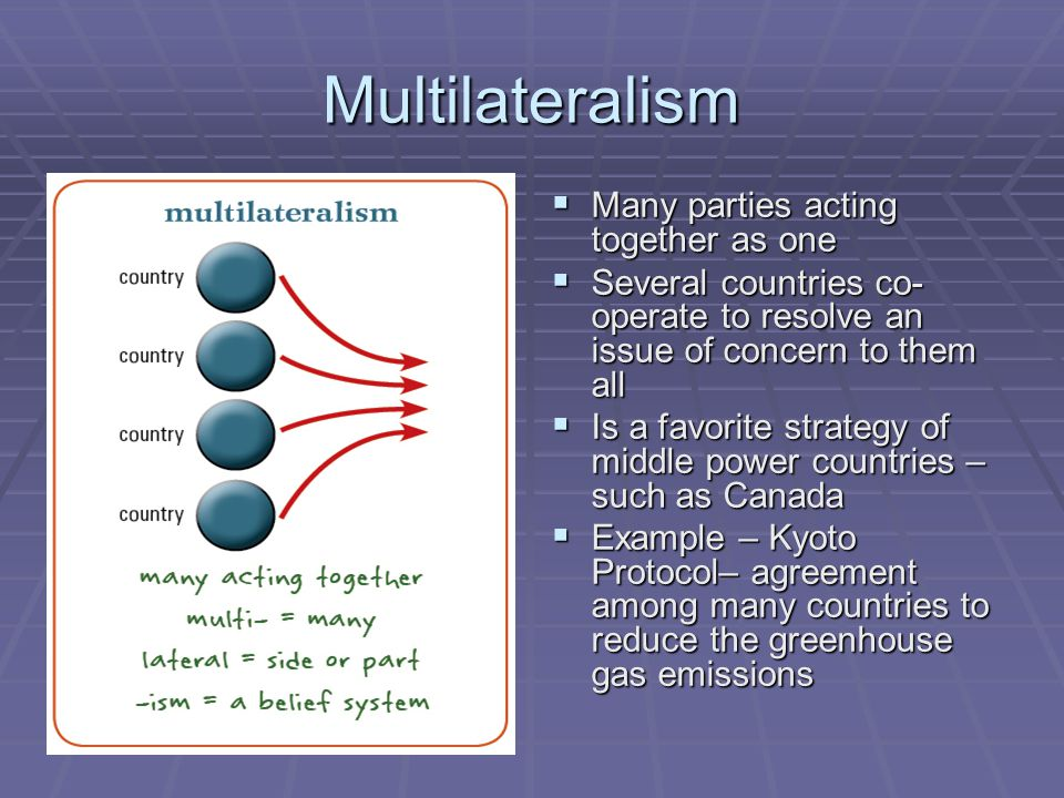 Multilateralism Many parties acting together as one