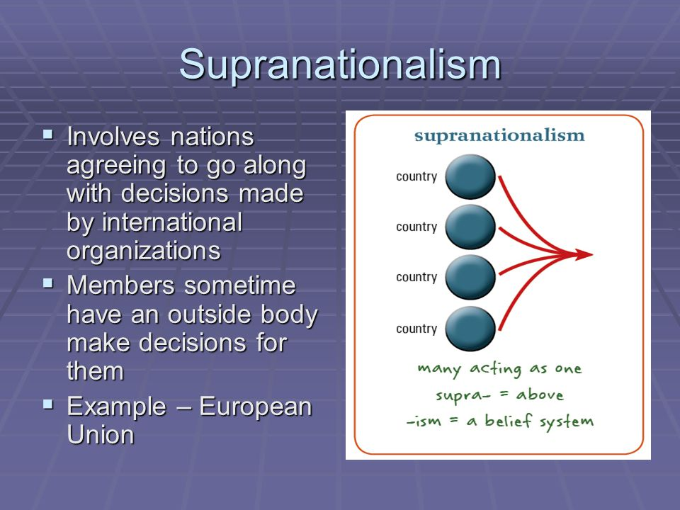 Supranationalism Involves nations agreeing to go along with decisions made by international organizations.
