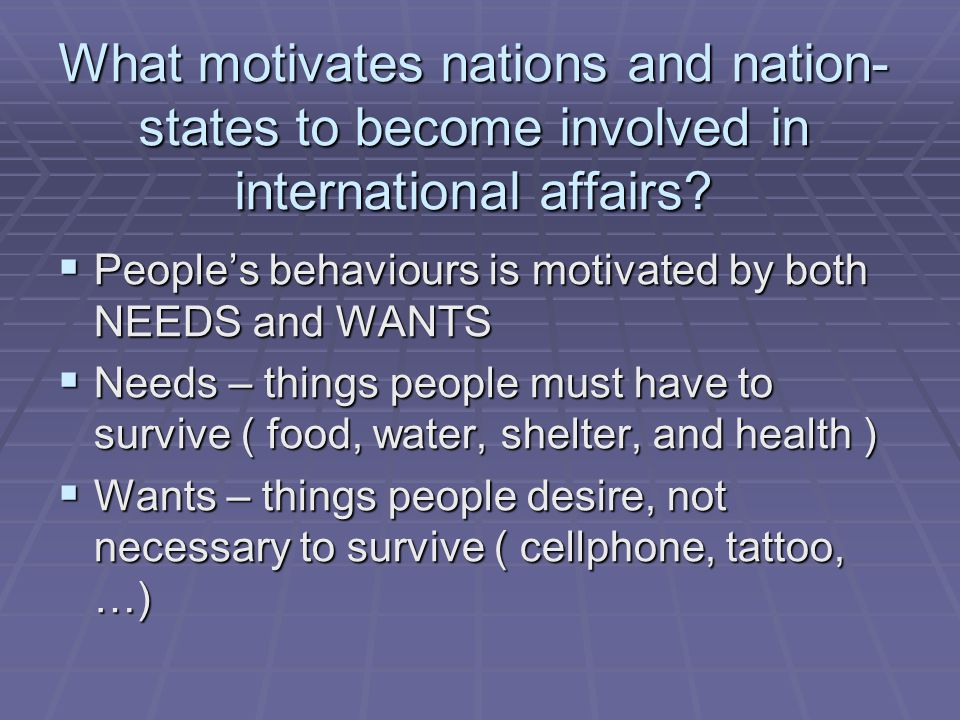 What motivates nations and nation-states to become involved in international affairs