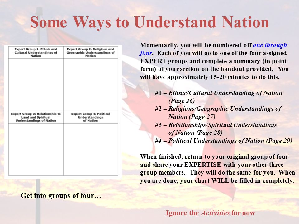 Some Ways to Understand Nation