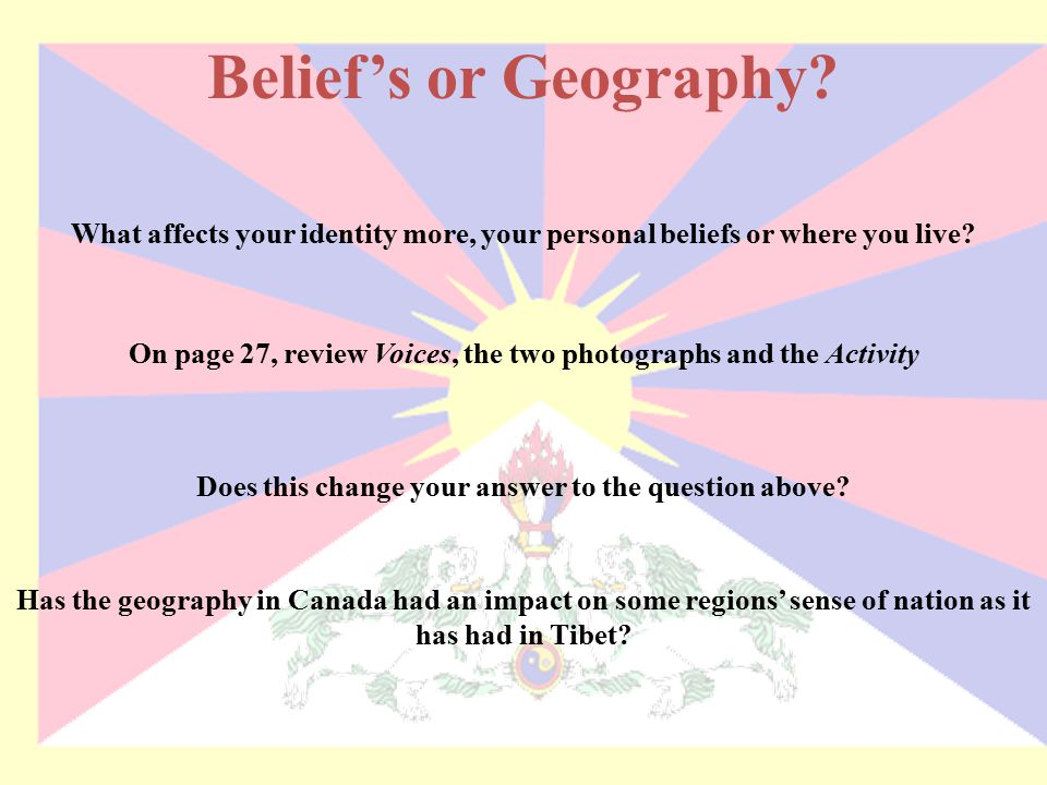 Belief's or Geography What affects your identity more, your personal beliefs or where you live