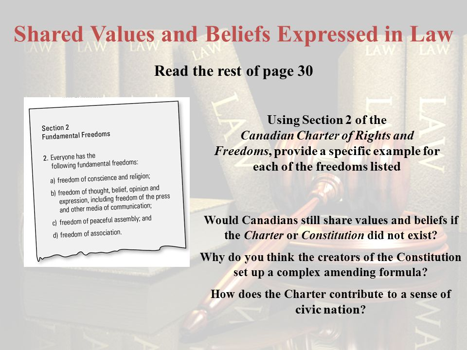 Shared Values and Beliefs Expressed in Law