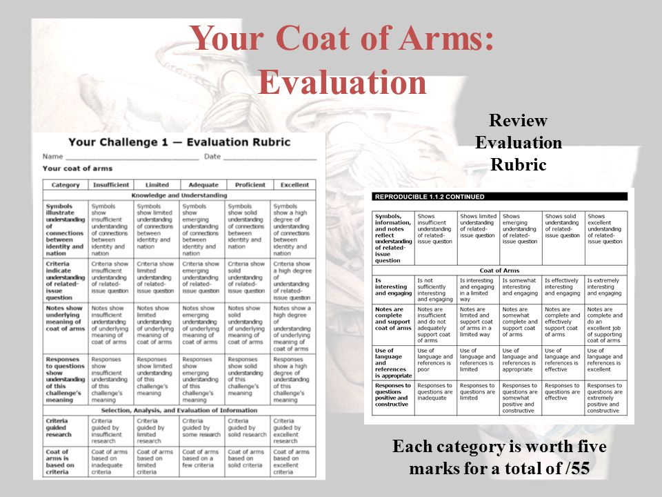 Your Coat of Arms: Evaluation