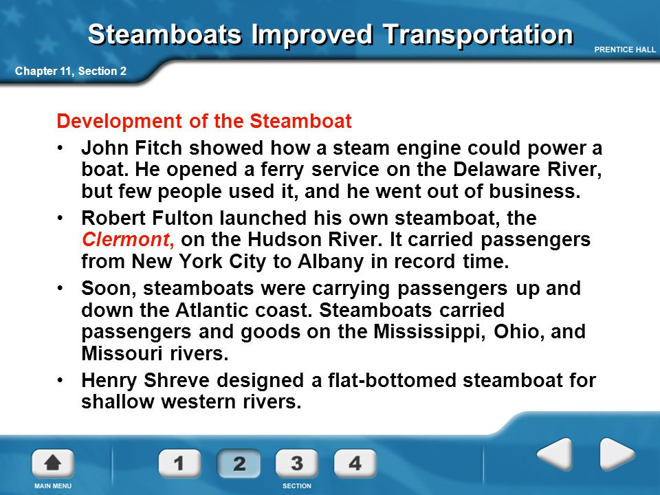 Steamboats Improved Transportation