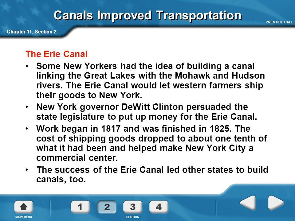Canals Improved Transportation