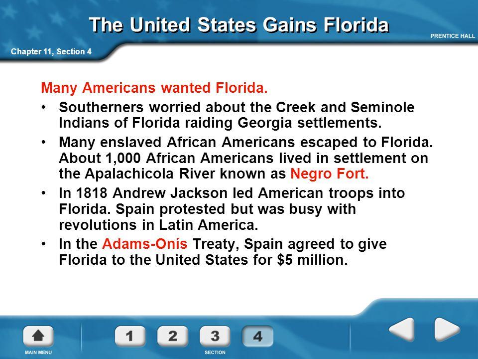 The United States Gains Florida
