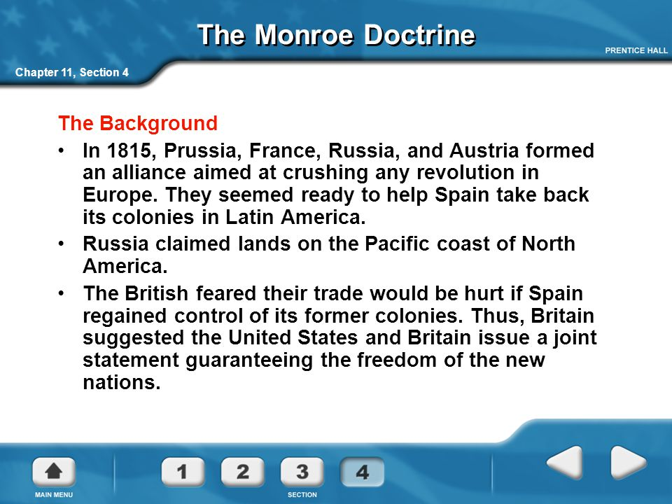 The Monroe Doctrine The Background