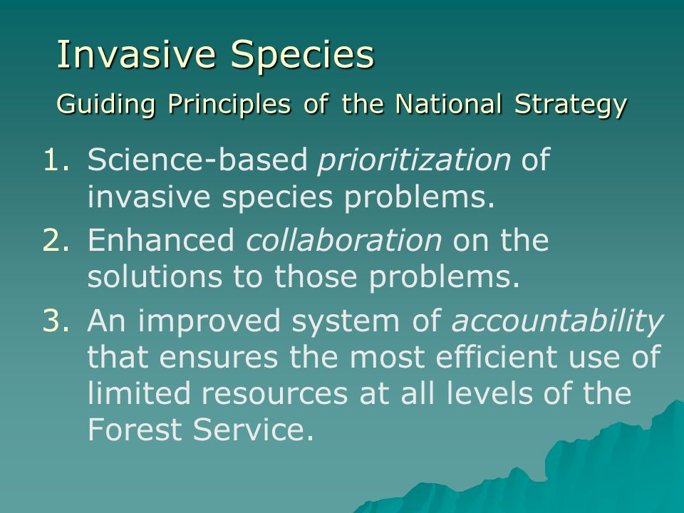 Invasive Species Guiding Principles of the National Strategy