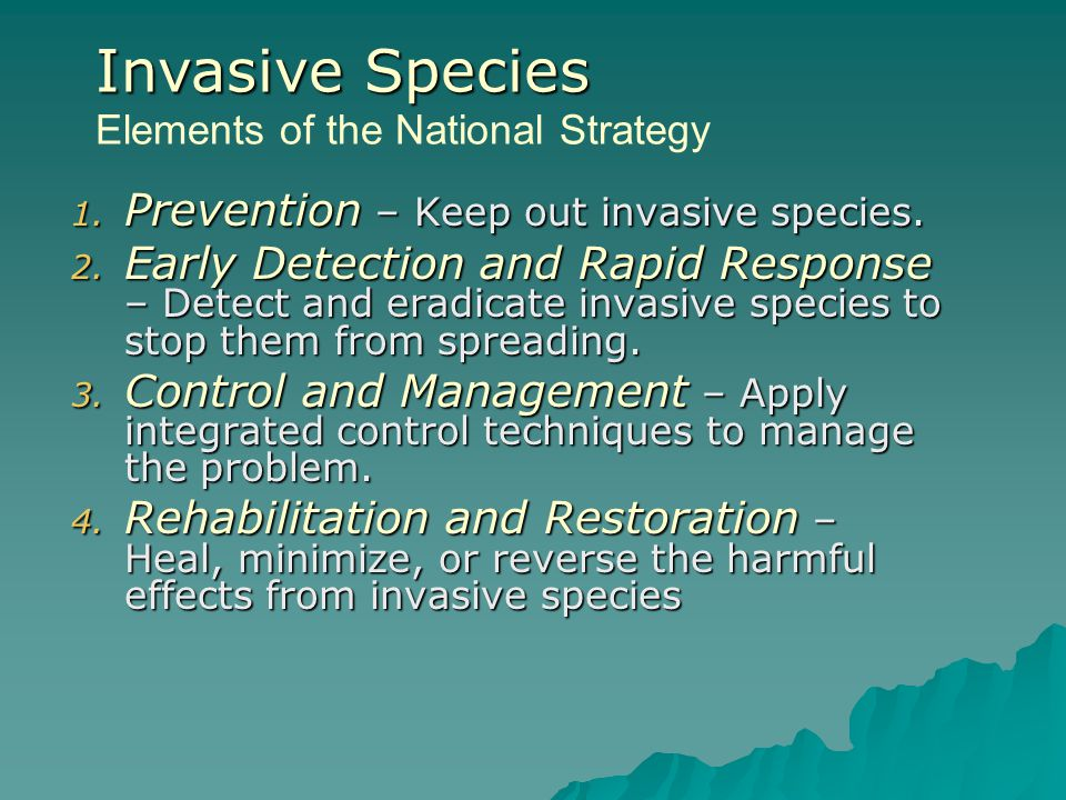 Invasive Species Elements of the National Strategy