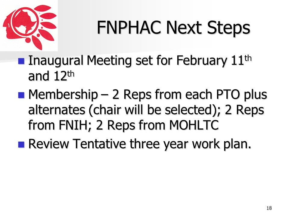 FNPHAC Next Steps Inaugural Meeting set for February 11th and 12th