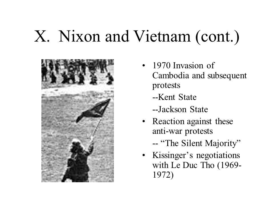 X. Nixon and Vietnam (cont.)