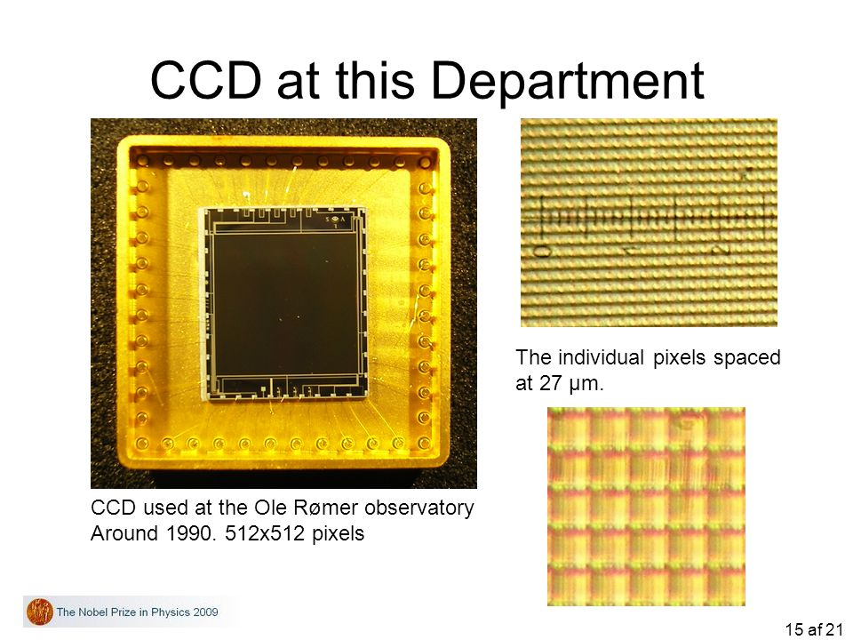 CCD at this Department The individual pixels spaced at 27 μm.