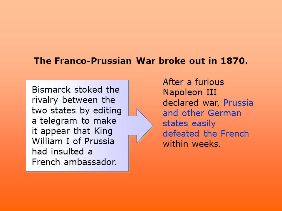 The Franco-Prussian War broke out in 1870.