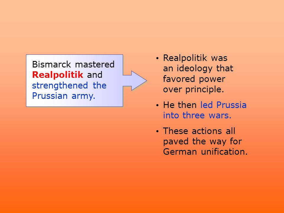 Realpolitik was an ideology that favored power over principle.