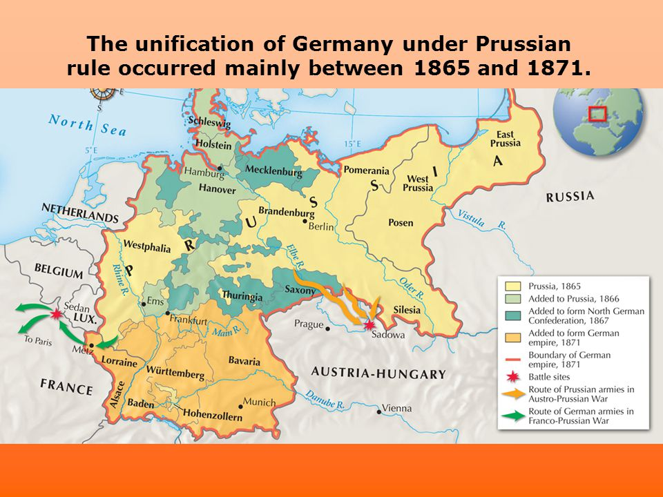 The unification of Germany under Prussian rule occurred mainly between 1865 and 1871.