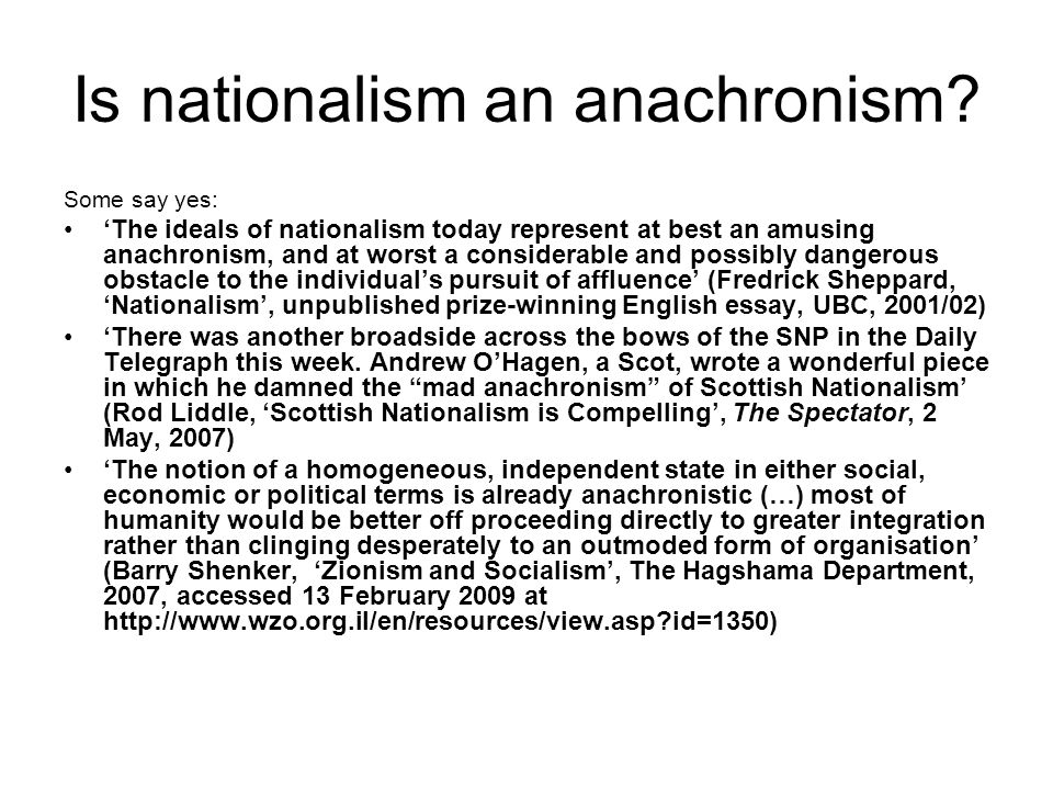 Is nationalism an anachronism