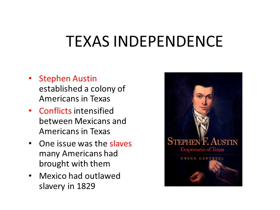 TEXAS INDEPENDENCE Stephen Austin established a colony of Americans in Texas. Conflicts intensified between Mexicans and Americans in Texas.