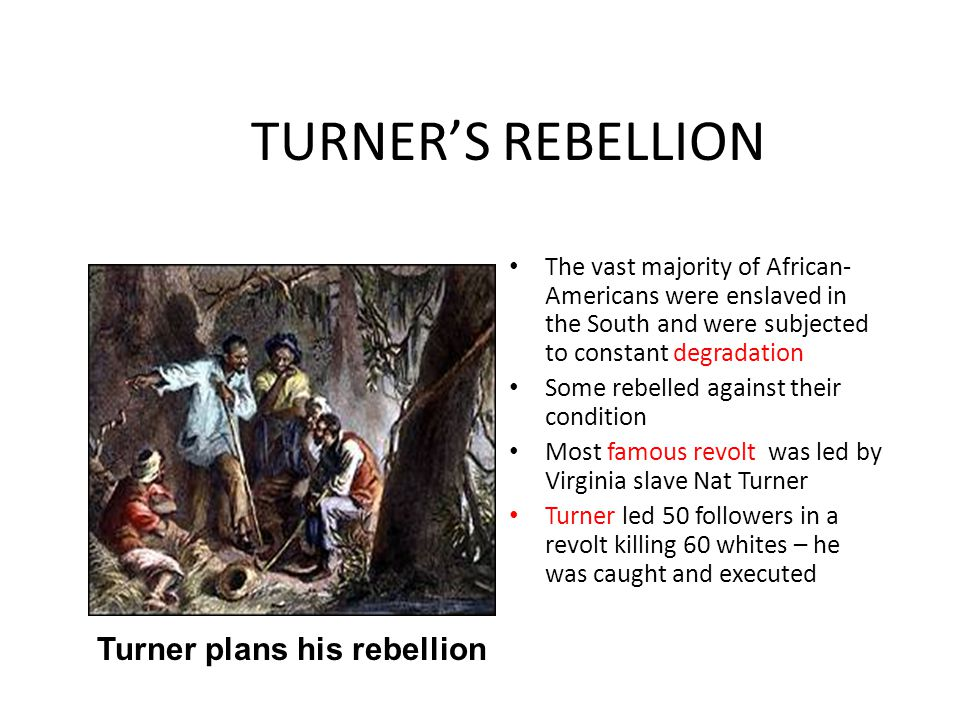 Turner plans his rebellion