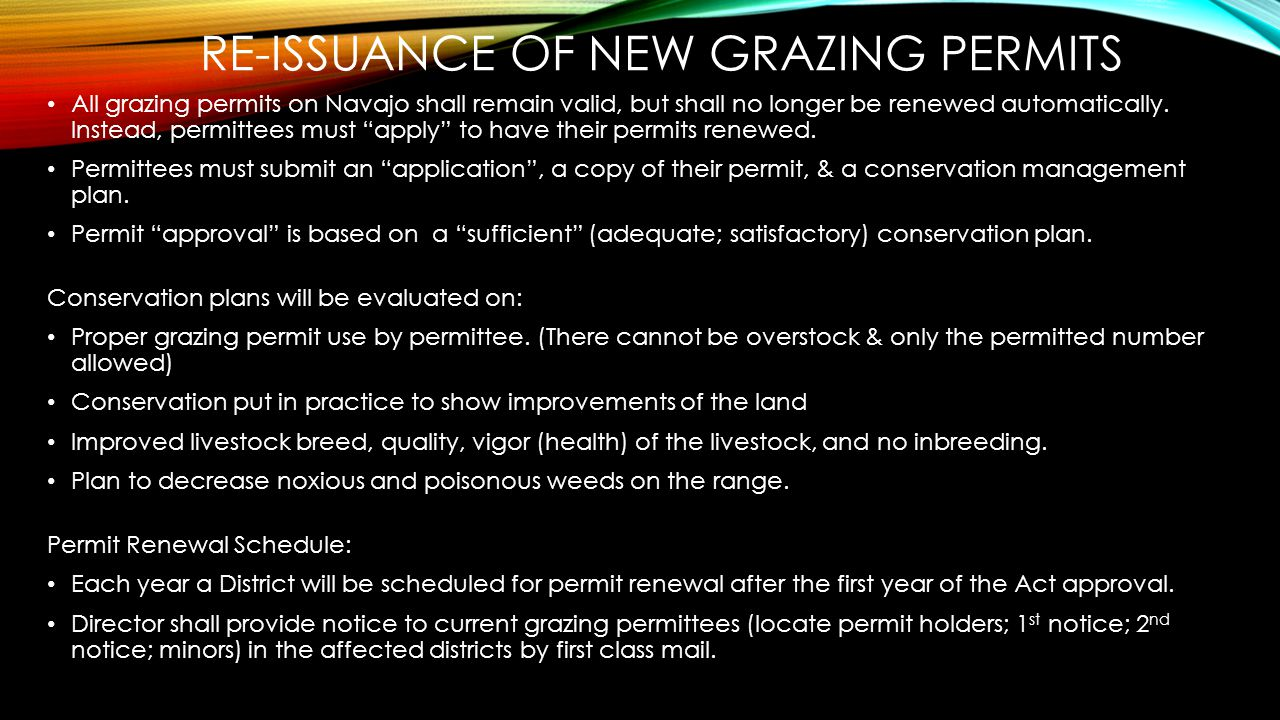 Re-issuance of new Grazing Permits