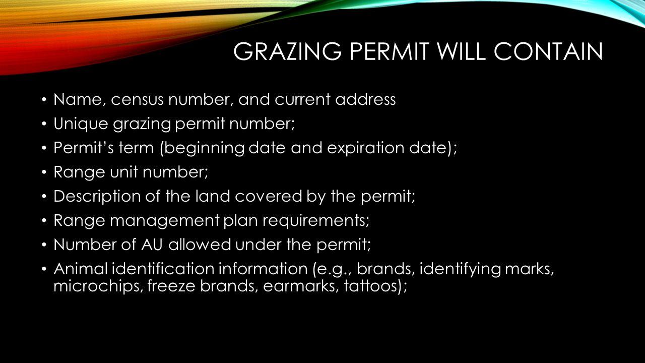 GRAZING PERMIT WILL CONTAIN