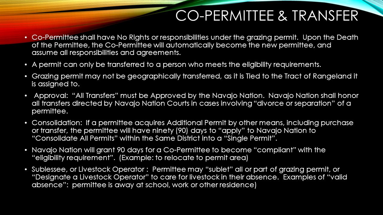 Co-permittee & transfer