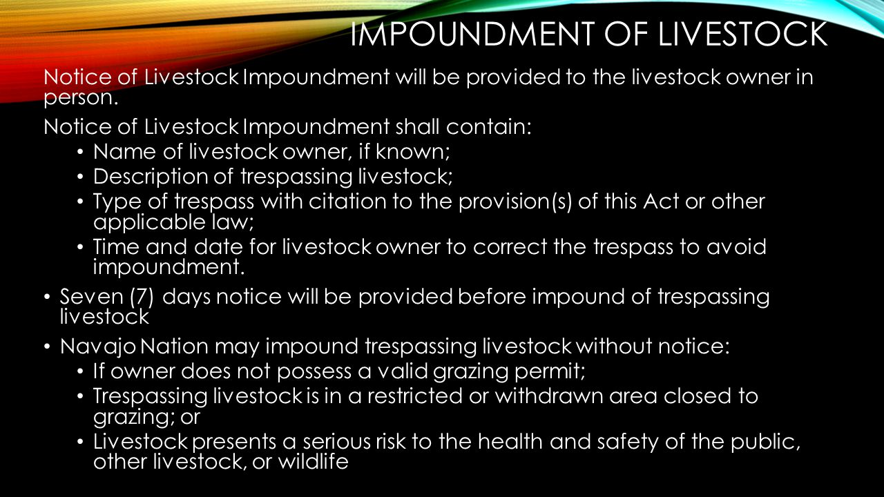 Impoundment of livestock