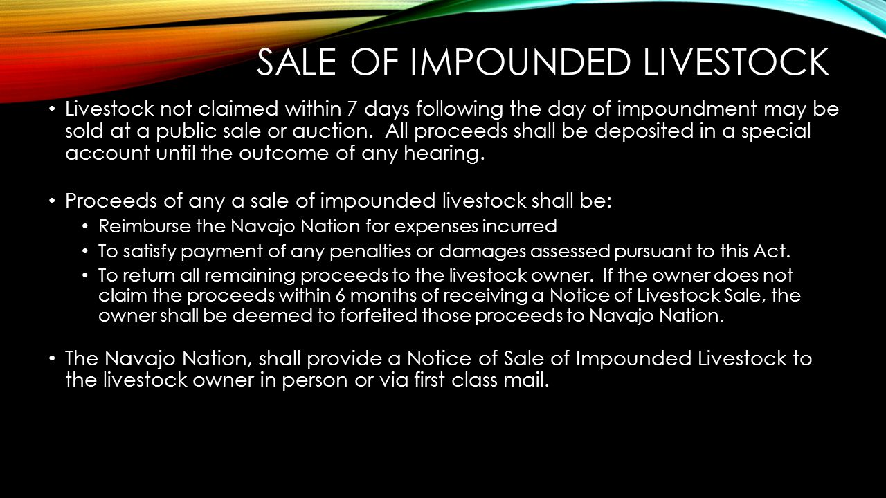 Sale of Impounded Livestock