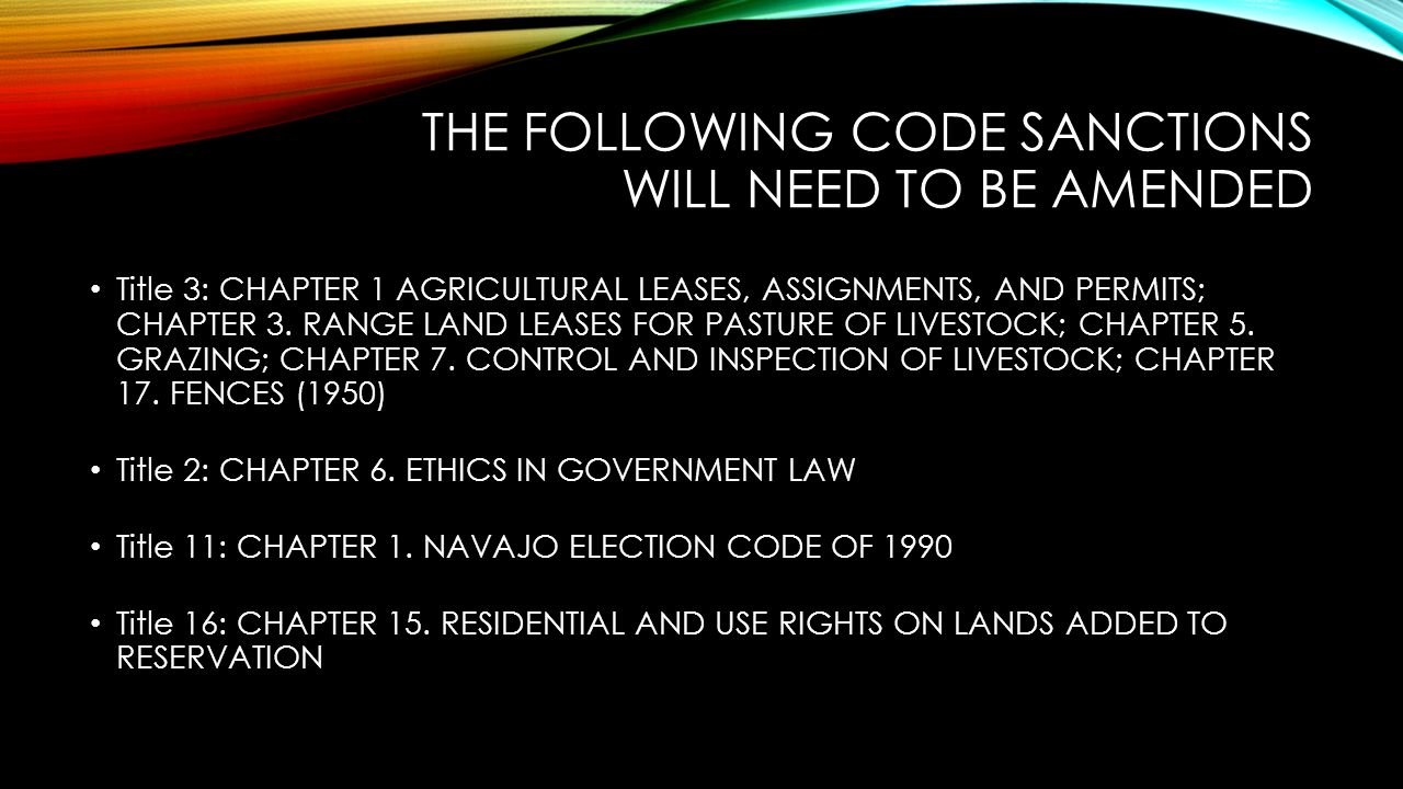 The Following code sanctions will need to be AMENDED