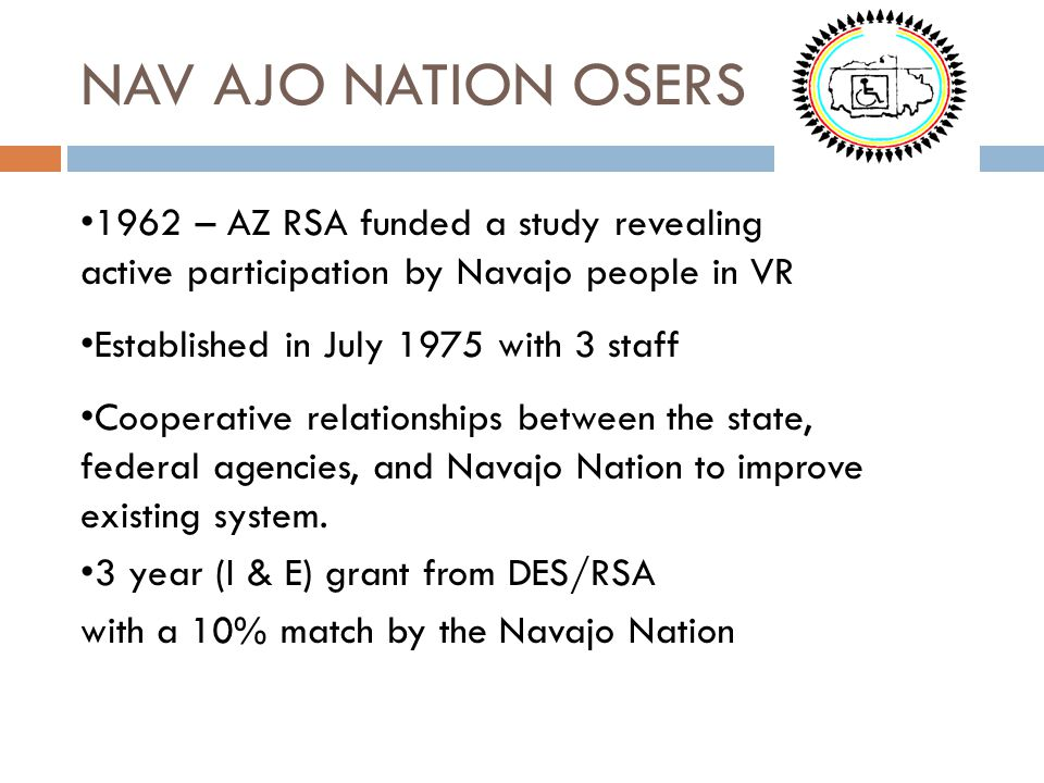 NAV AJO NATION OSERS 1962 – AZ RSA funded a study revealing active participation by Navajo people in VR.