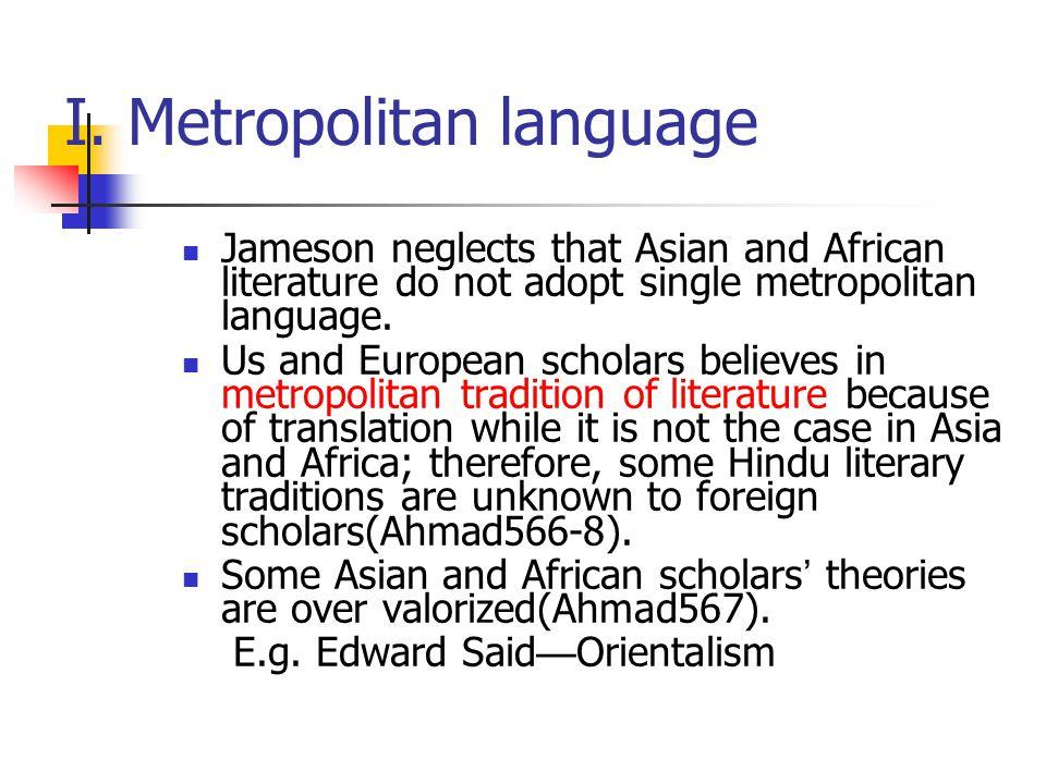 I. Metropolitan language