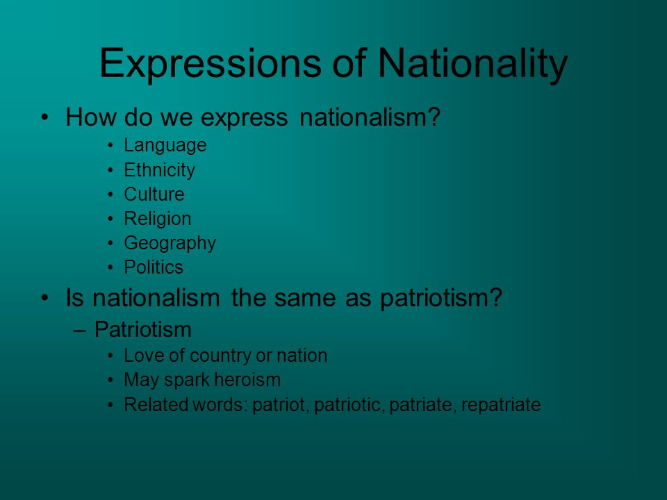 Expressions of Nationality