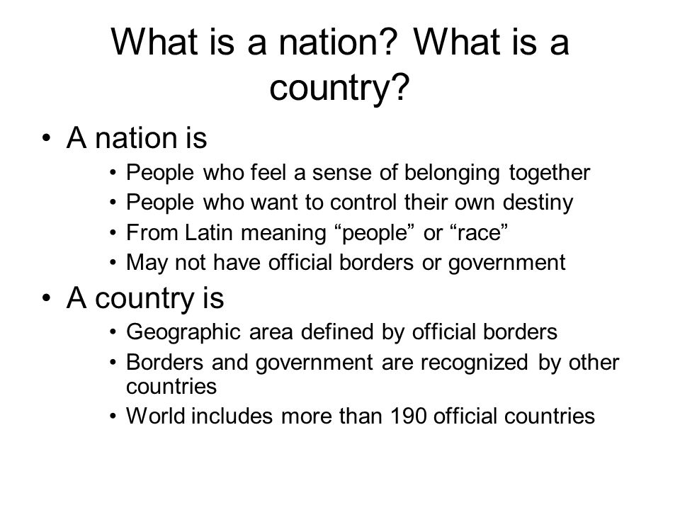 What is a nation What is a country