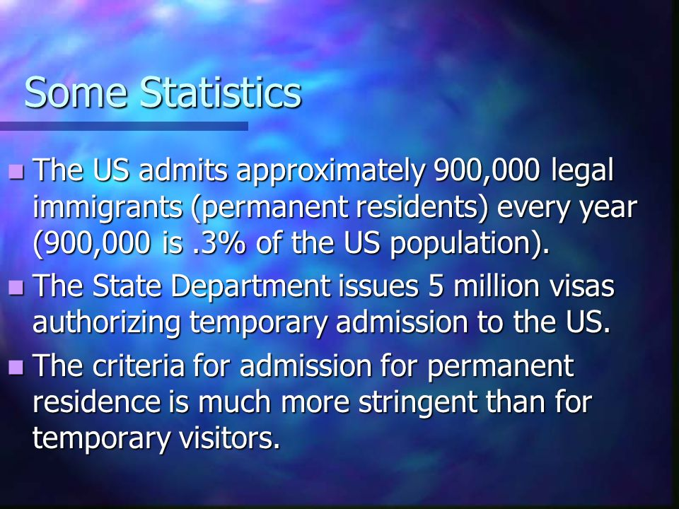 Some Statistics The US admits approximately 900,000 legal immigrants (permanent residents) every year (900,000 is .3% of the US population).
