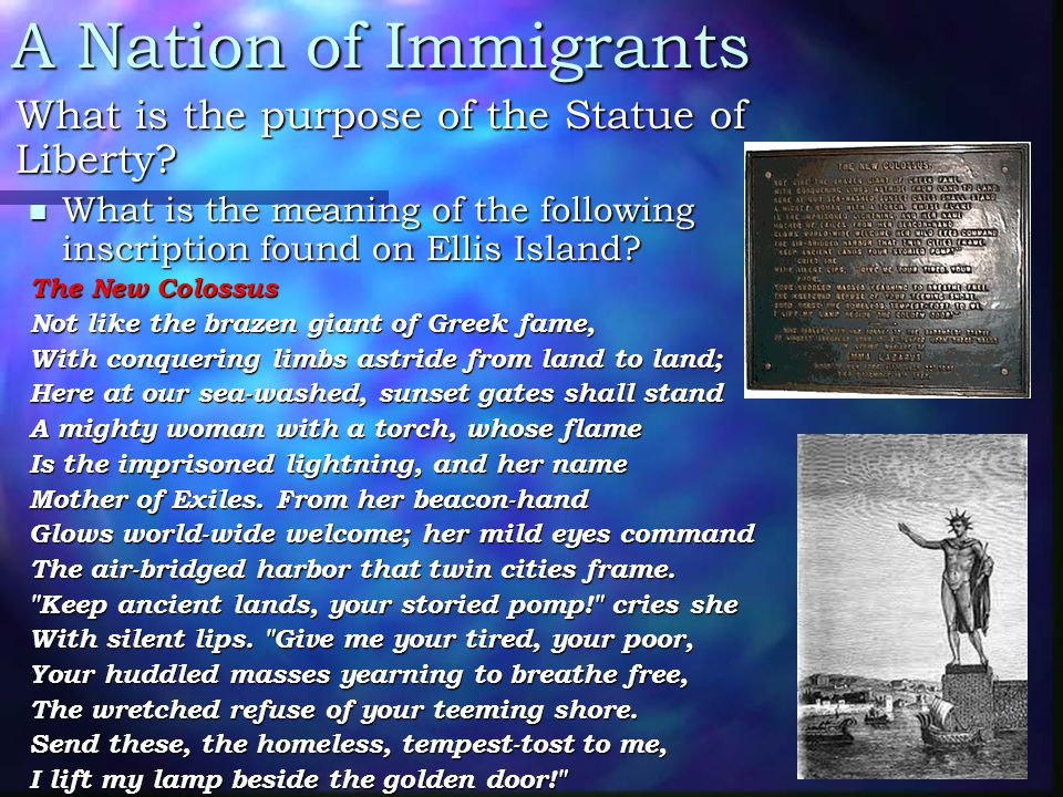 A Nation of Immigrants What is the purpose of the Statue of Liberty