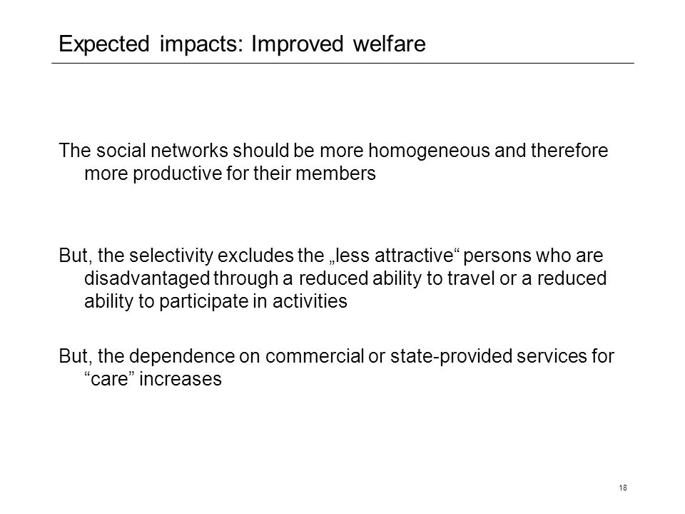 Expected impacts: Improved welfare