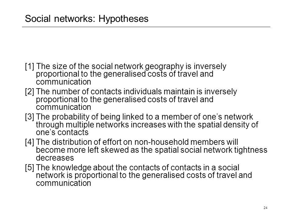 Social networks: Hypotheses