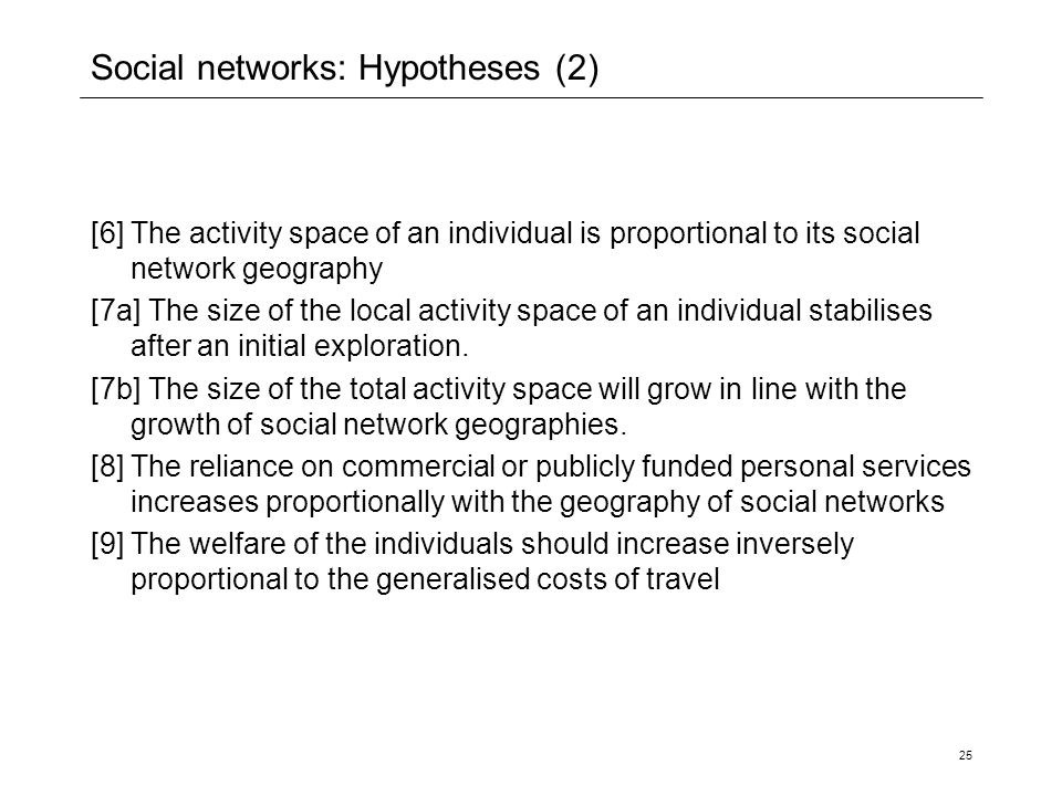 Social networks: Hypotheses (2)
