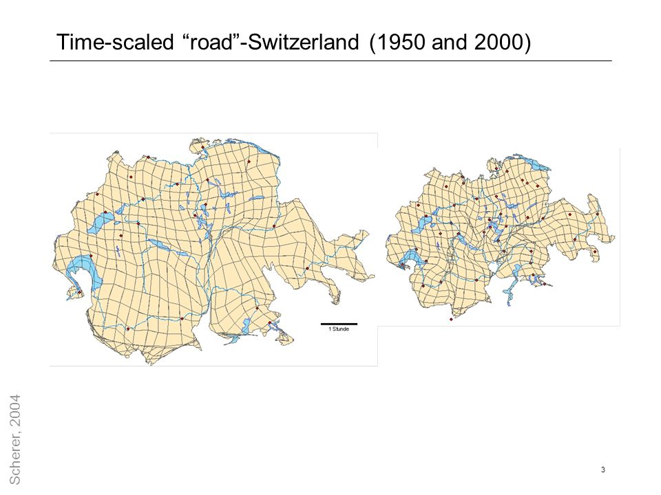 Time-scaled road -Switzerland (1950 and 2000)
