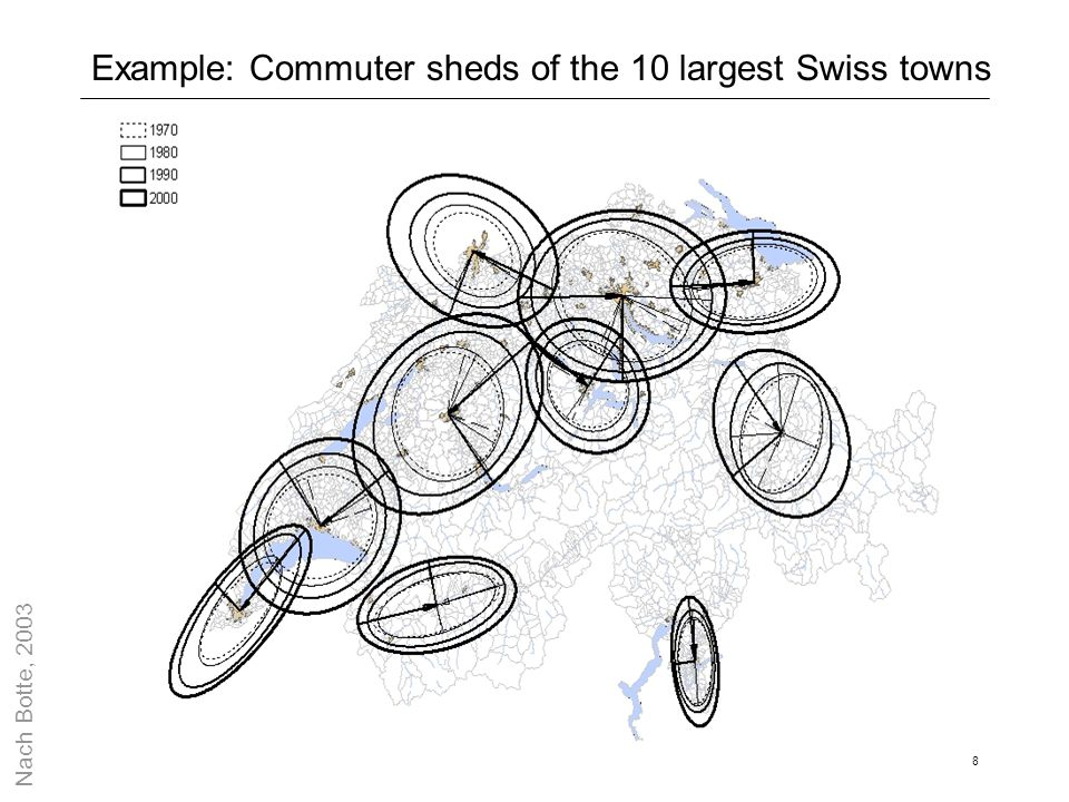 Example: Commuter sheds of the 10 largest Swiss towns