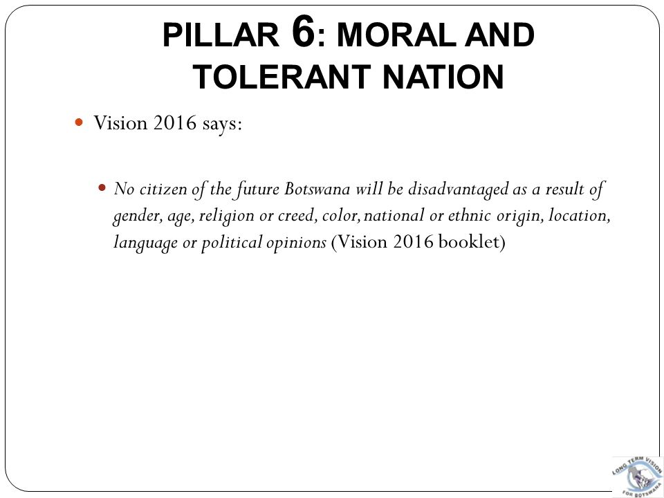 PILLAR 6: MORAL AND TOLERANT NATION
