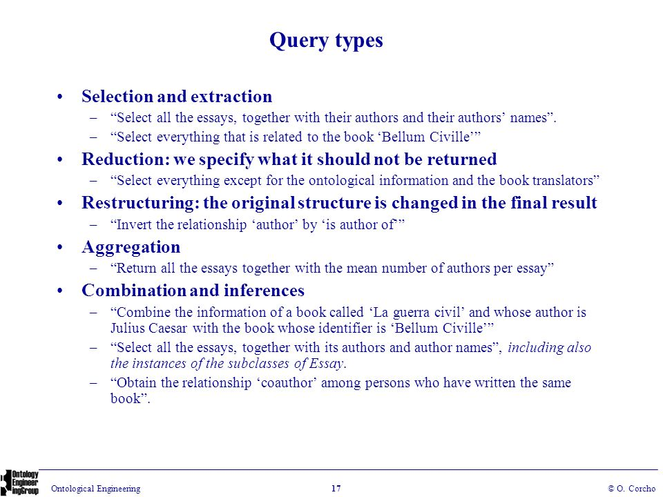 Query types Selection and extraction