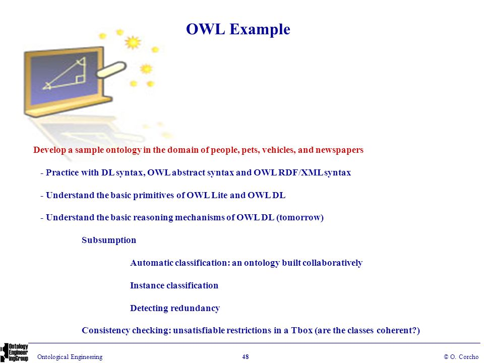 OWL Example Develop a sample ontology in the domain of people, pets, vehicles, and newspapers.
